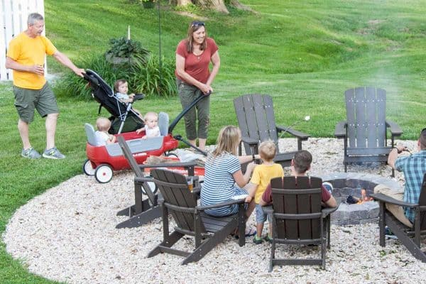 Benson family at fire pit